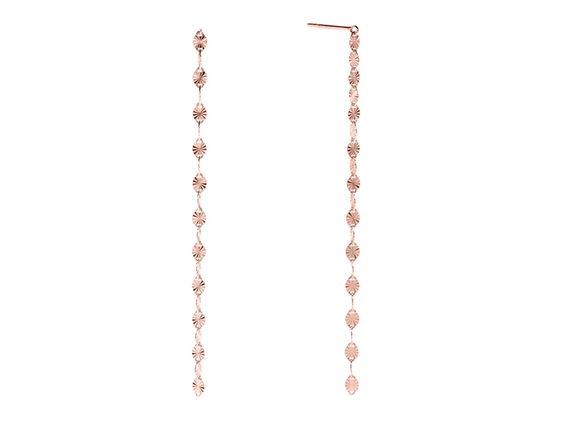 Juliet single drop earrings, sterling silver, rose gold plated