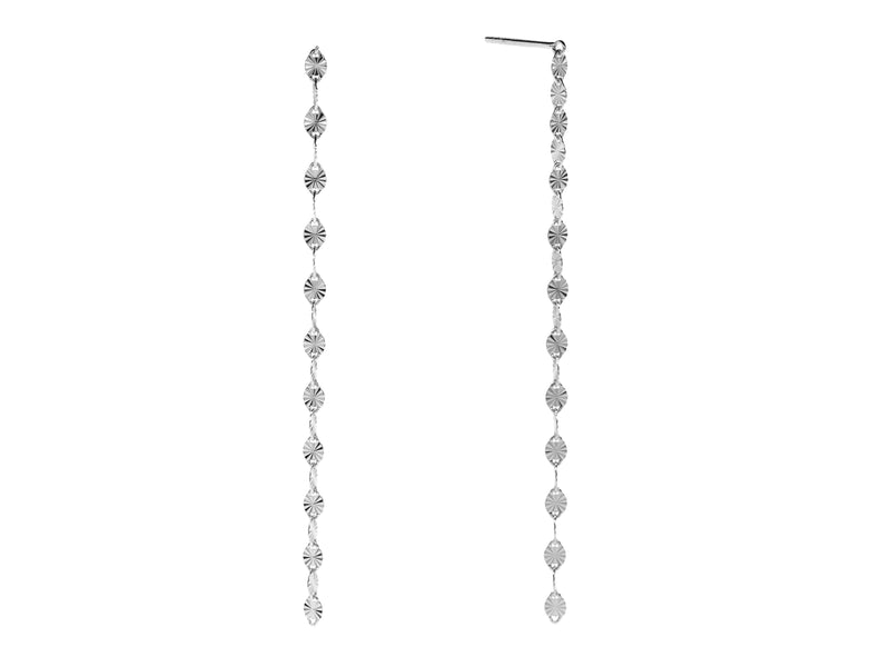 Juliet single drop earrings, sterling silver, rhodium plated