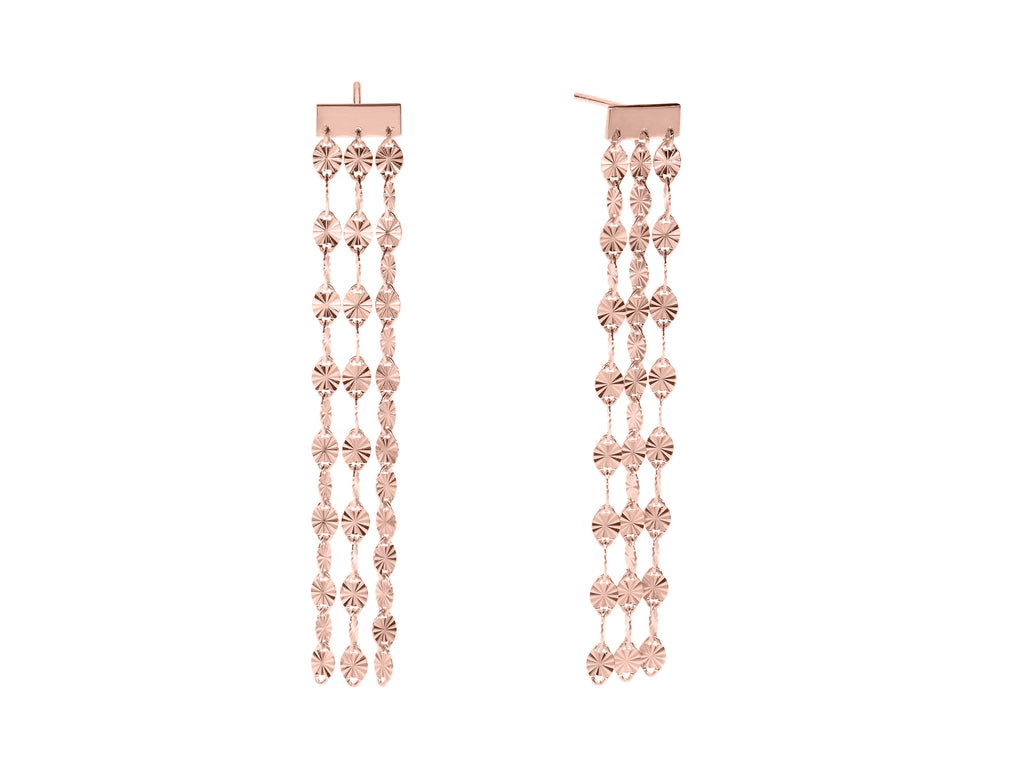 Juliet triple drop earrings, sterling silver, rose gold plated