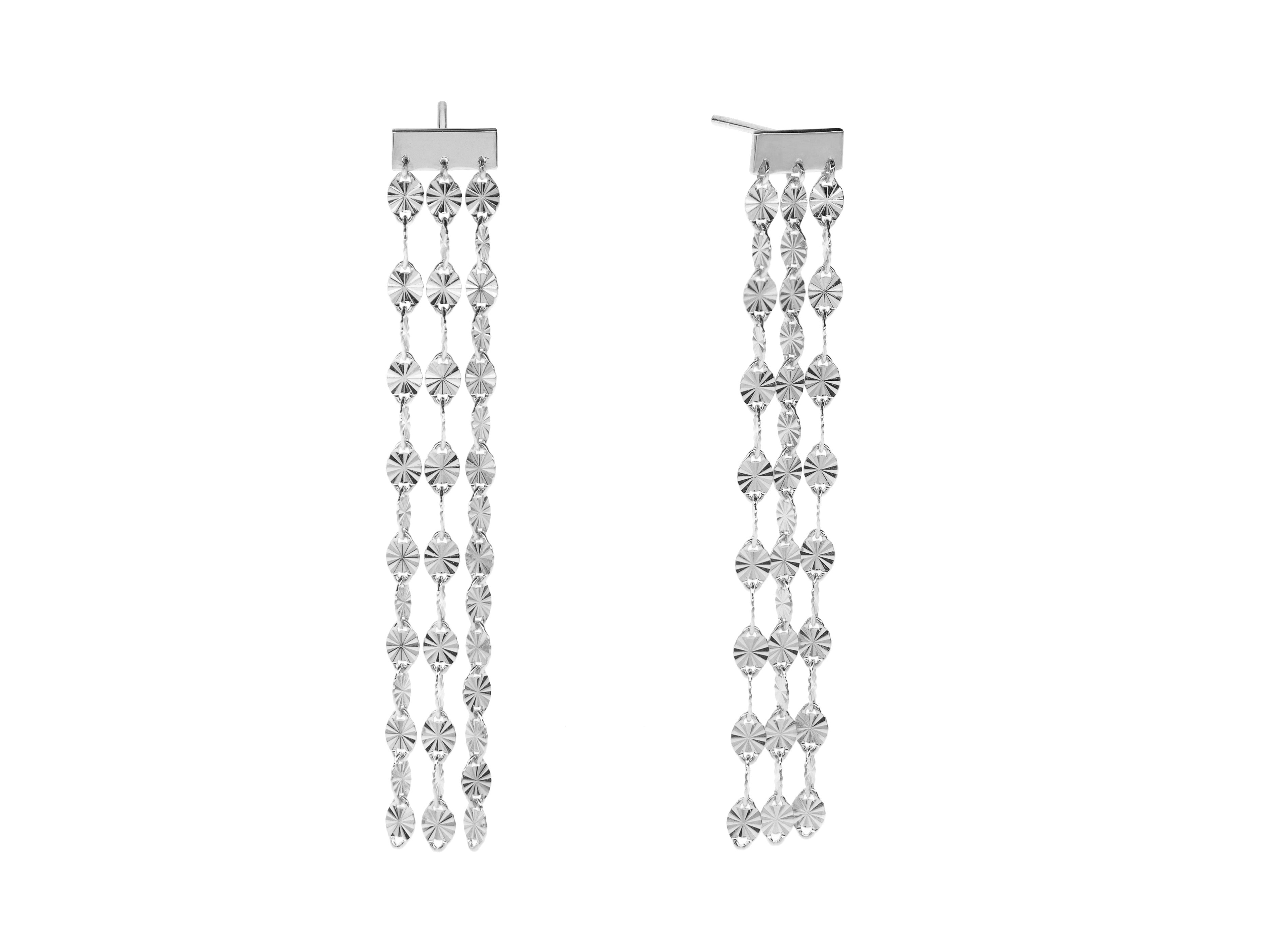 Juliet triple drop earrings, sterling silver, rhodium plated