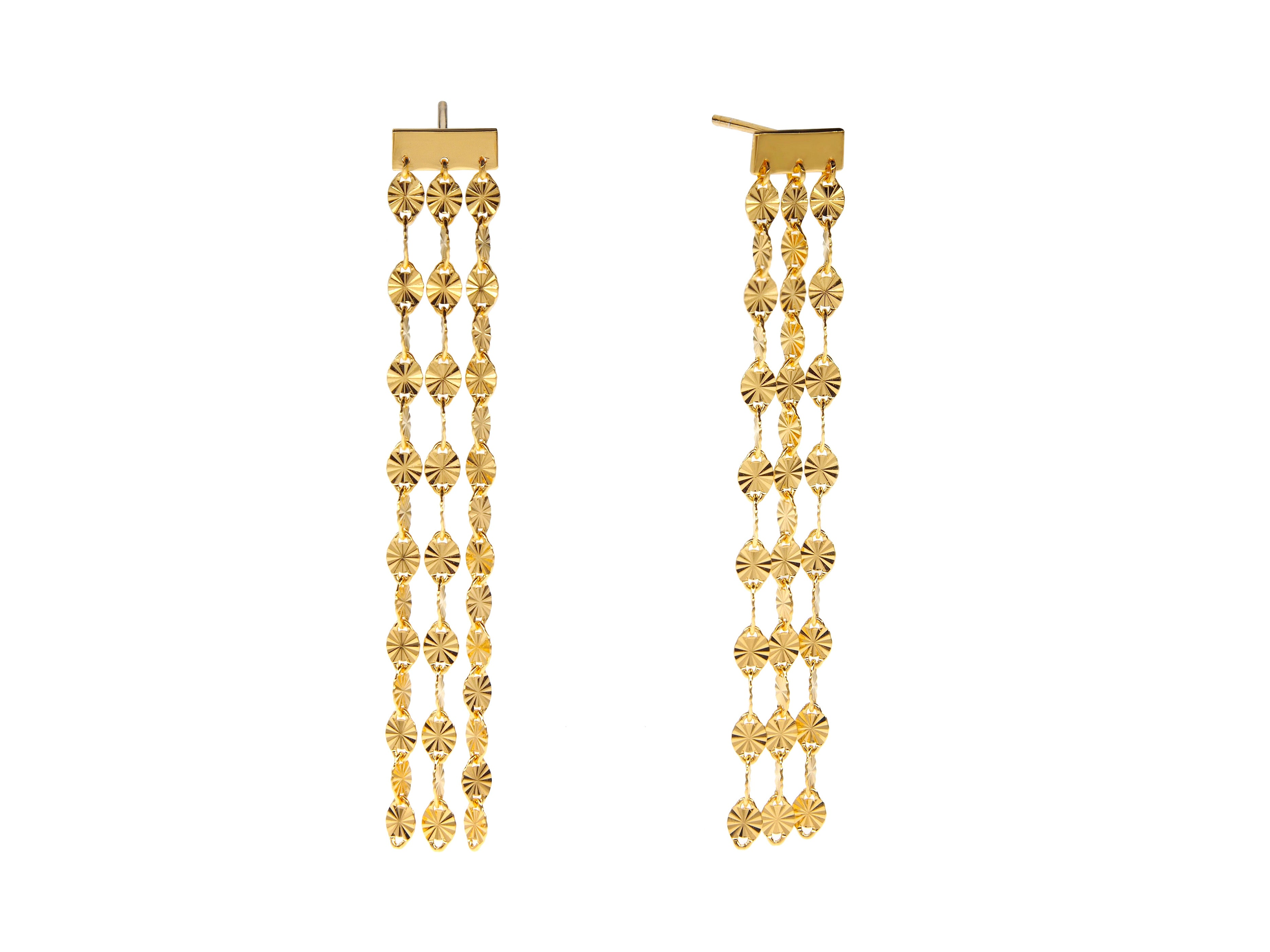 Juliet Triple Drop Earrings - Yellow Gold