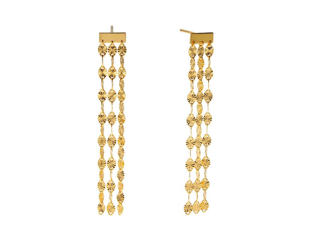 Juliet triple drop earrings, sterling silver, yellow gold plated