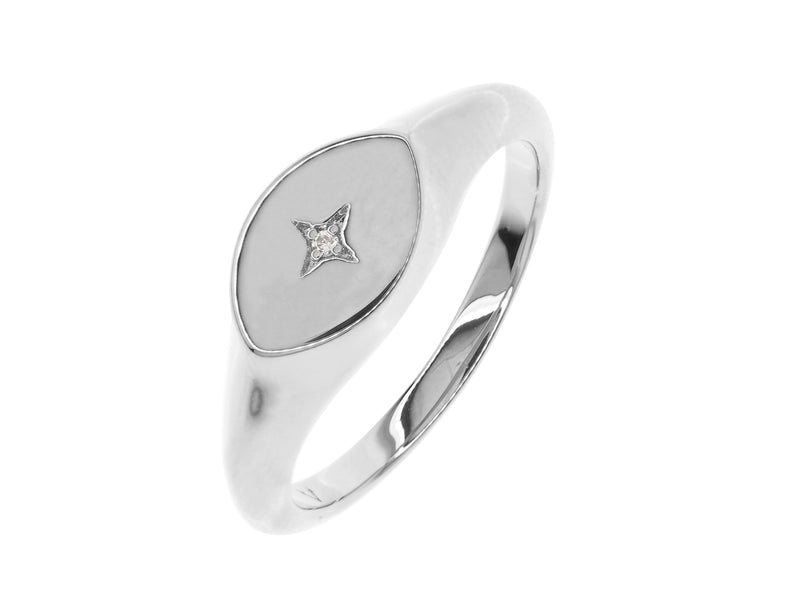Athena signet ring, sterling silver, rhodium plated