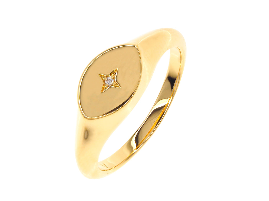 Athena signet ring, sterling silver, yellow gold plated