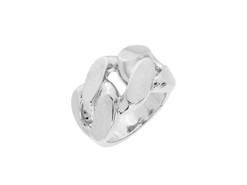 Freya chain link ring, sterling silver, rhodium plated