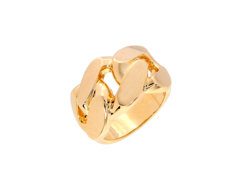 Freya chain link ring, sterling silver, yellow gold plated