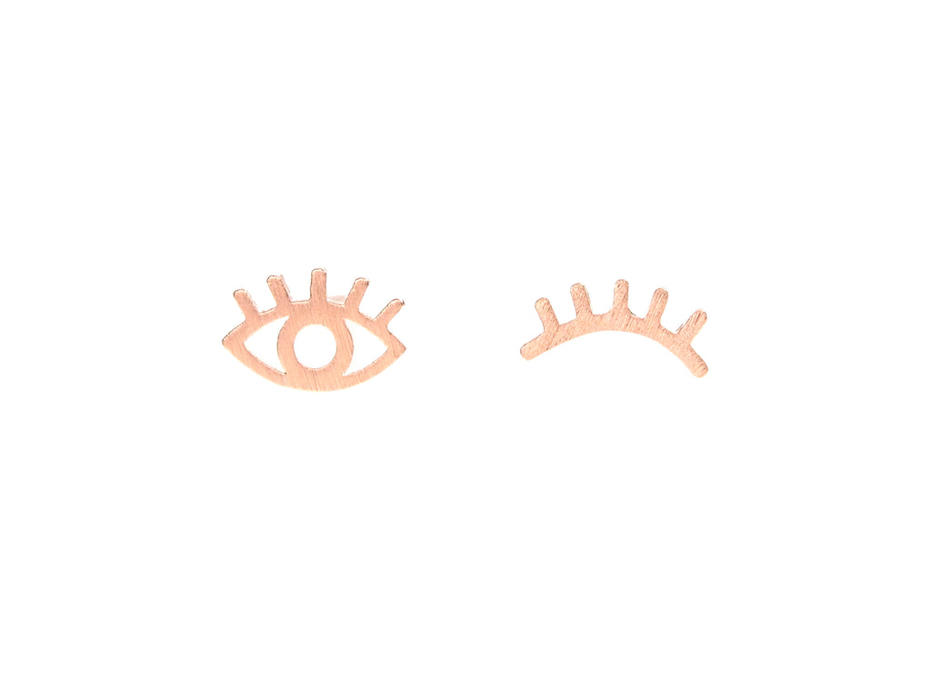 Winking evil eye stud earrings, sterling silver, rose gold plated