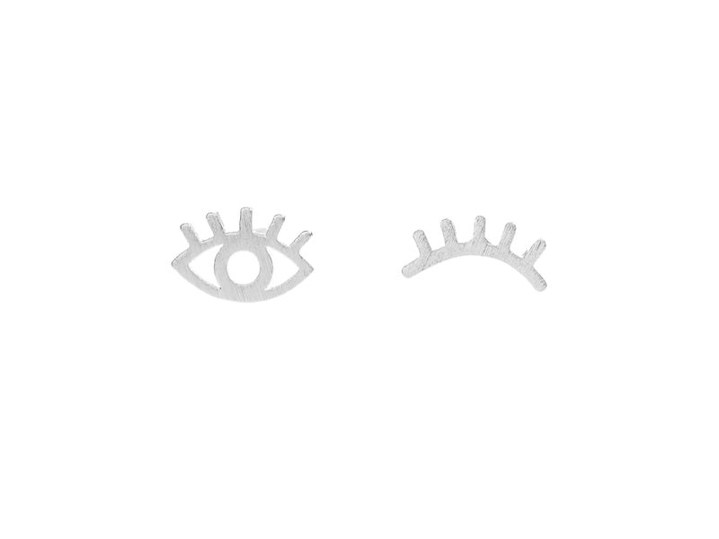 Winking evil eye stud earrings, sterling silver, rhodium plated