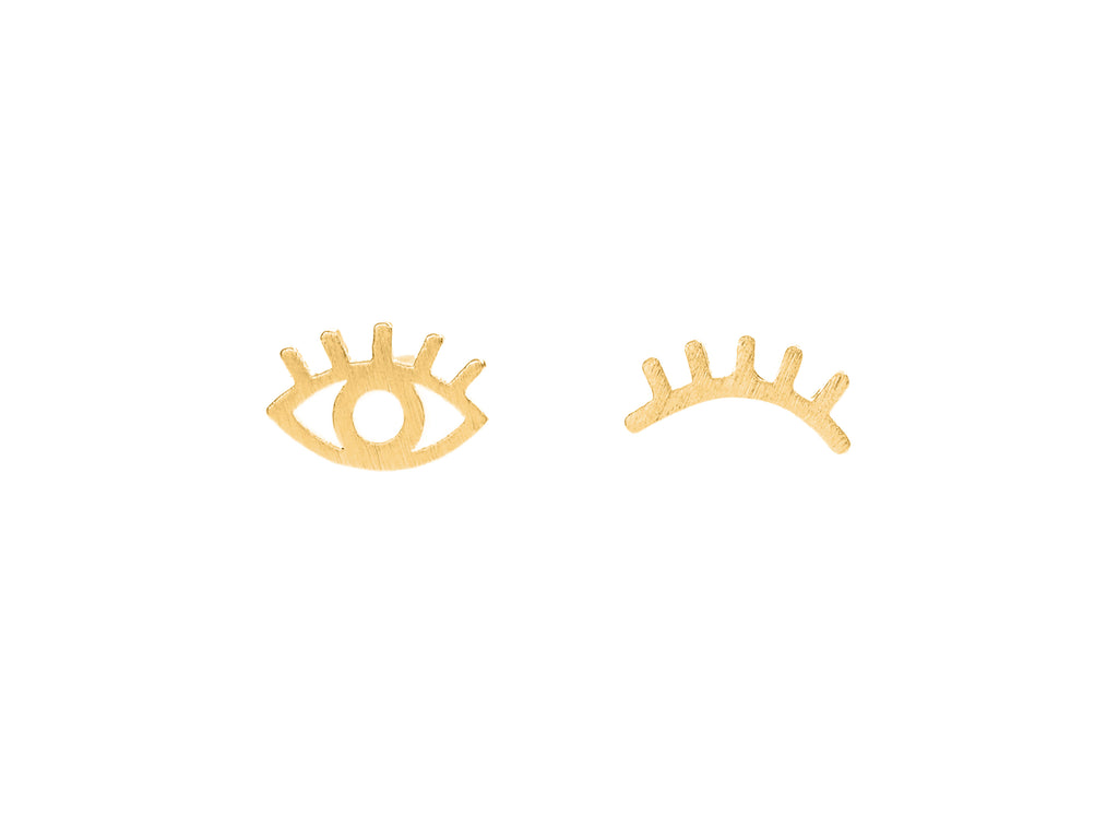 Winking evil eye stud earrings, sterling silver, yellow gold plated