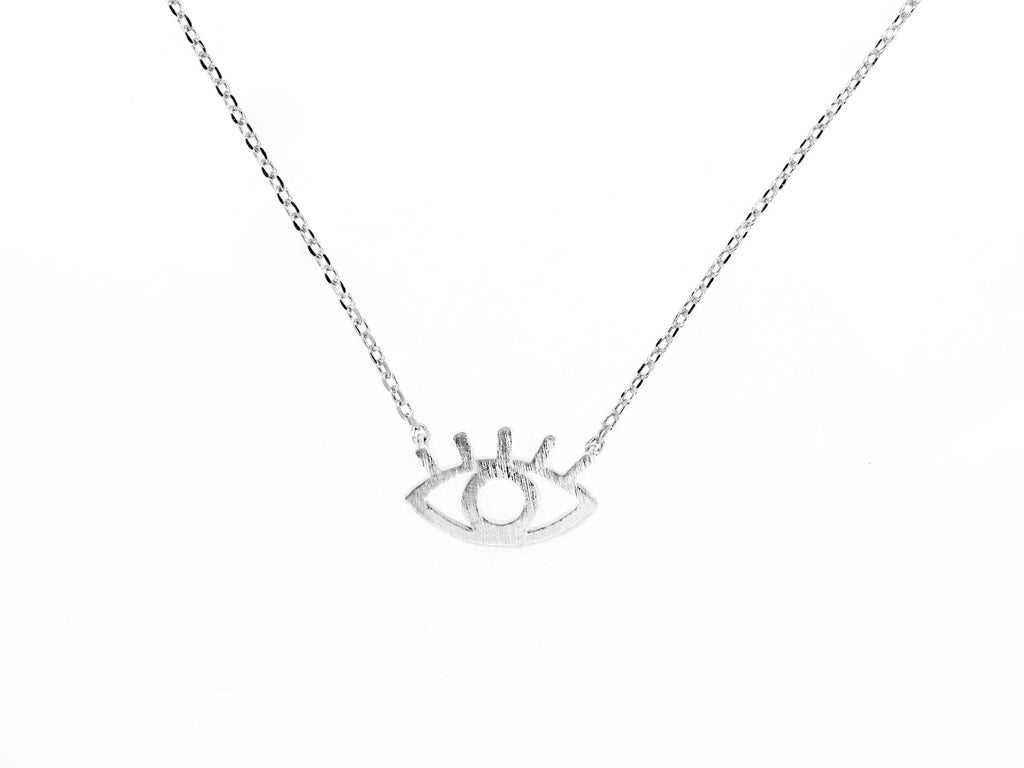Cleopatra evil eye necklace, sterling silver, rhodium plated