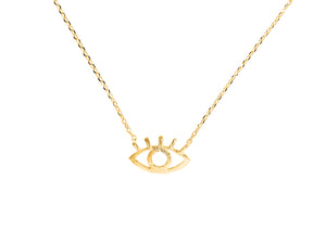 Cleopatra evil eye necklace, sterling silver, yellow gold plated