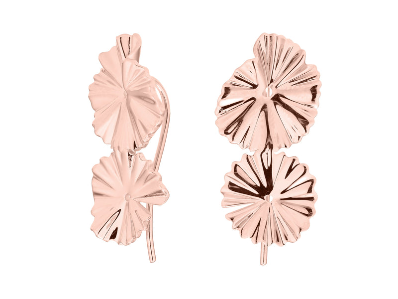 Flora earrings, sterling silver, rose gold plated