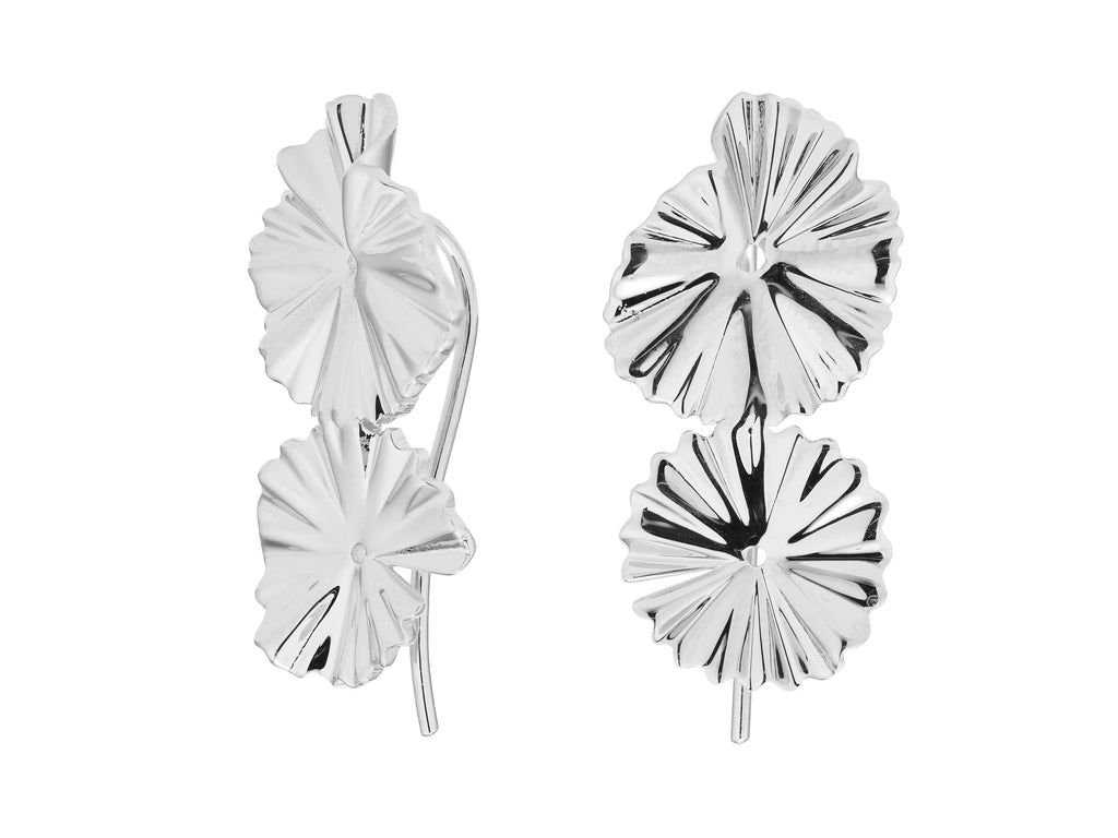 Flora earrings, sterling silver, rhodium plated