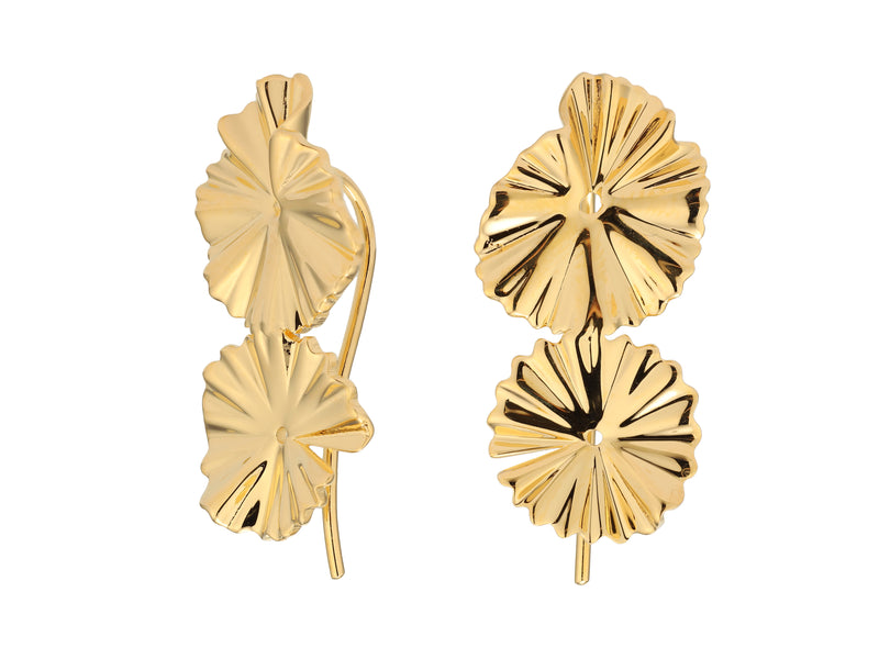Flora earrings, sterling silver, yellow gold plated