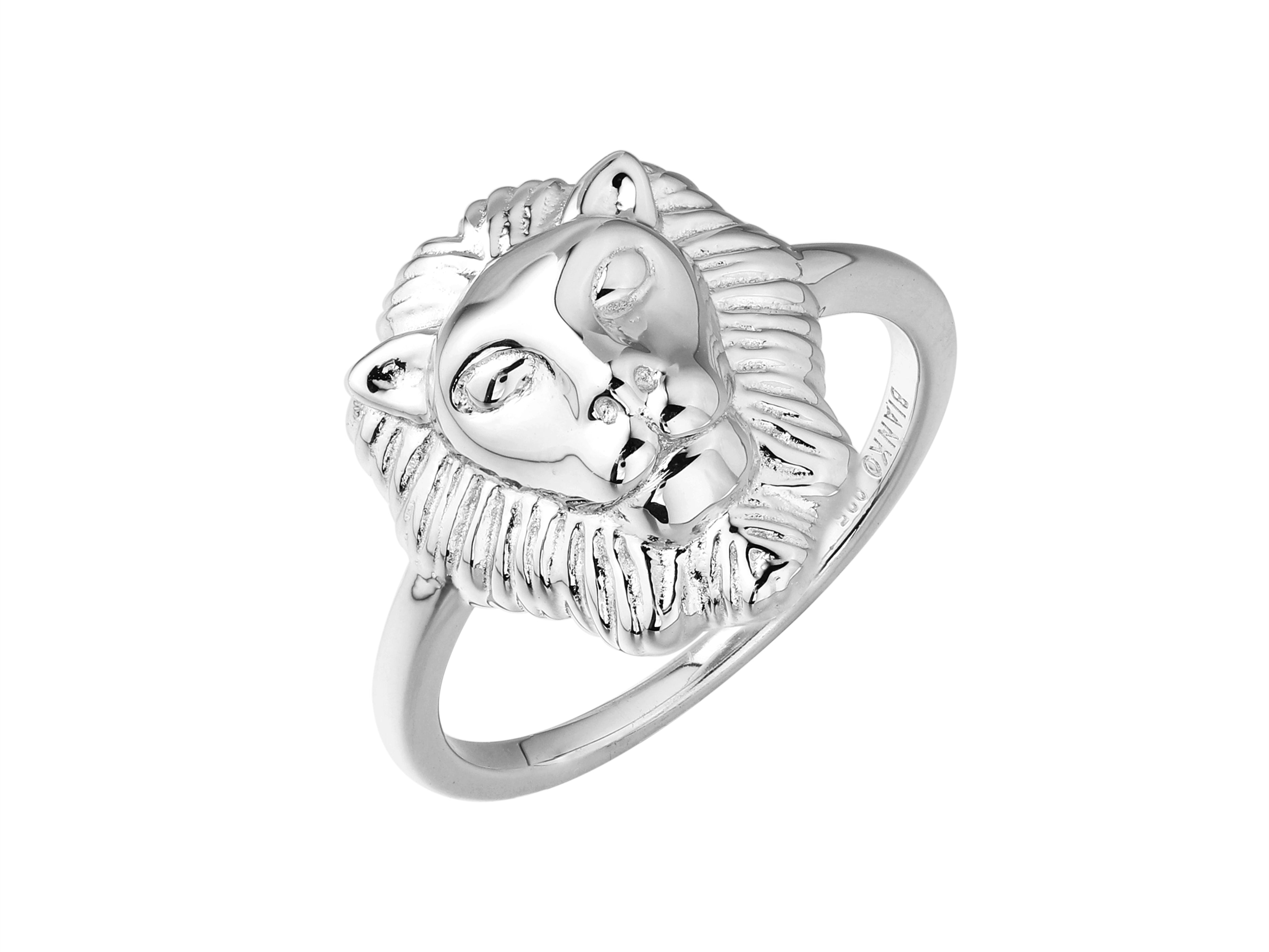 Artemis lion head ring, sterling silver, rhodium plated