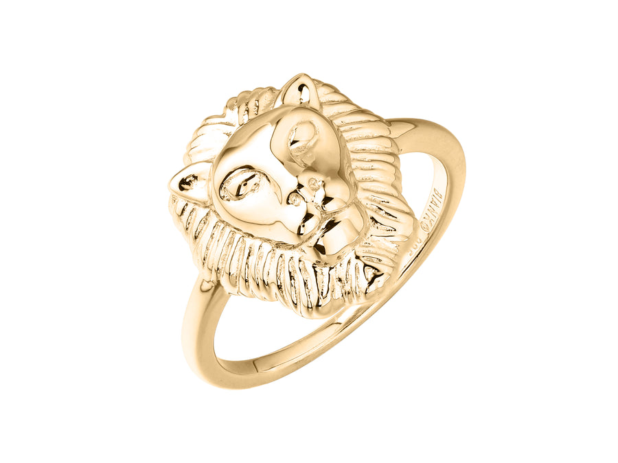 Artemis lion head ring, sterling silver, yellow gold plated