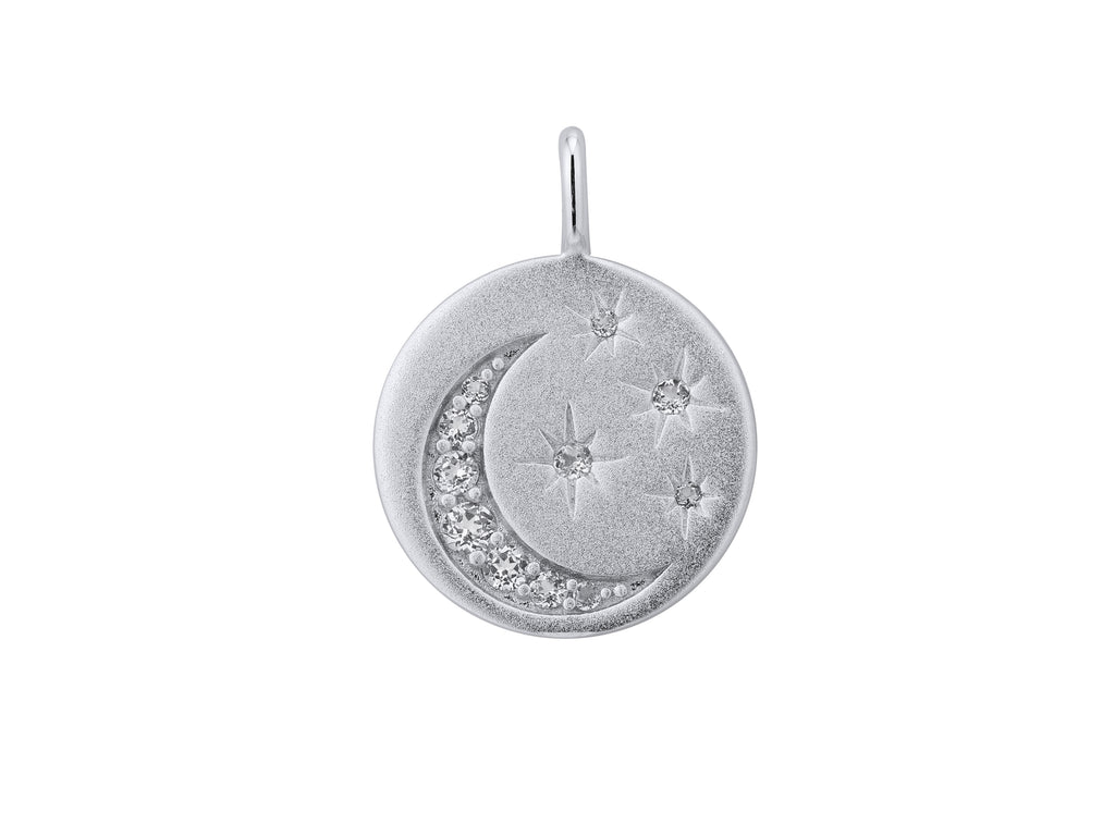 Selene stars and moon pendant, sterling silver, rhodium plated