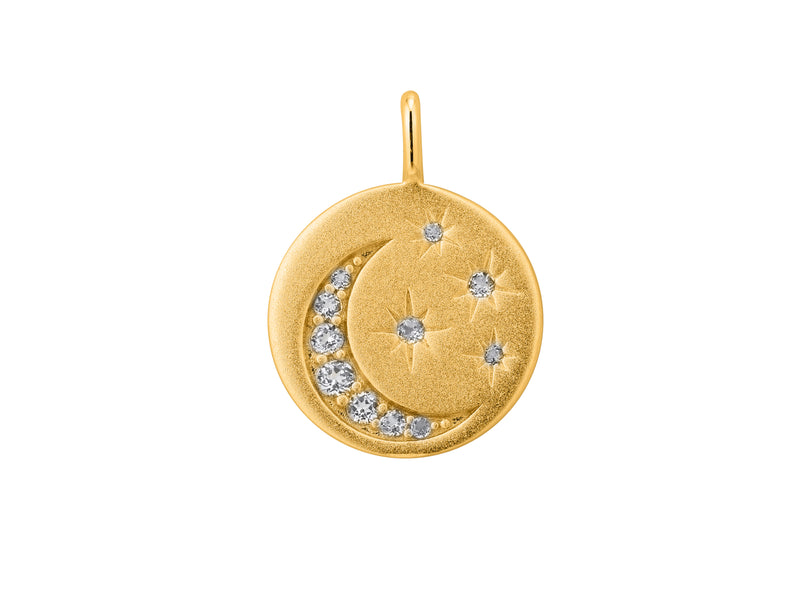 Selene stars and moon pendant, sterling silver, yellow gold plated