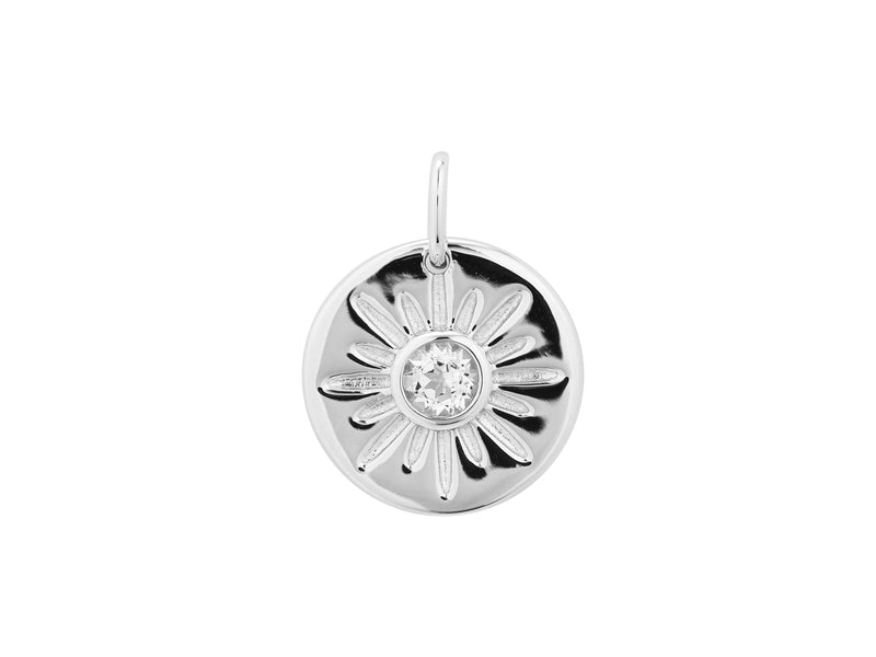 Arinna sun pendant, sterling silver, rhodium plated