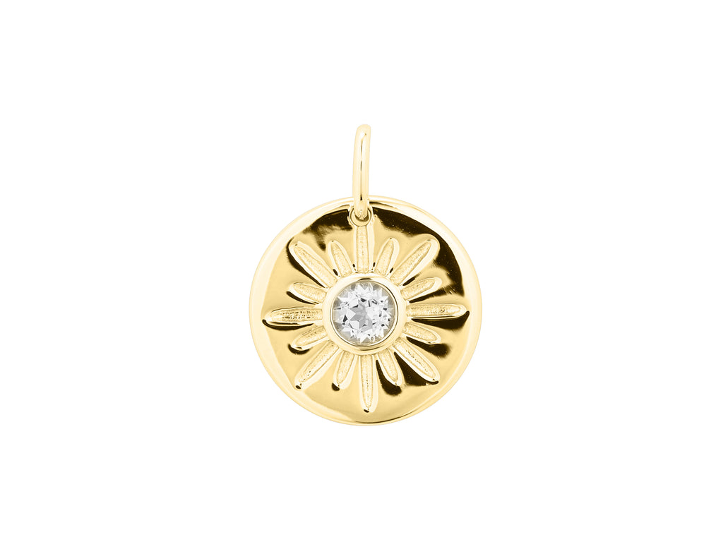 Arinna sun pendant, sterling silver, yellow gold plated