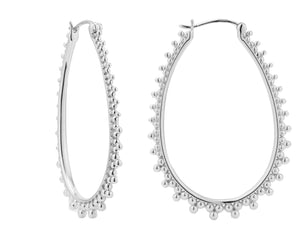 Contessa hoops, sterling silver, rhodium plated