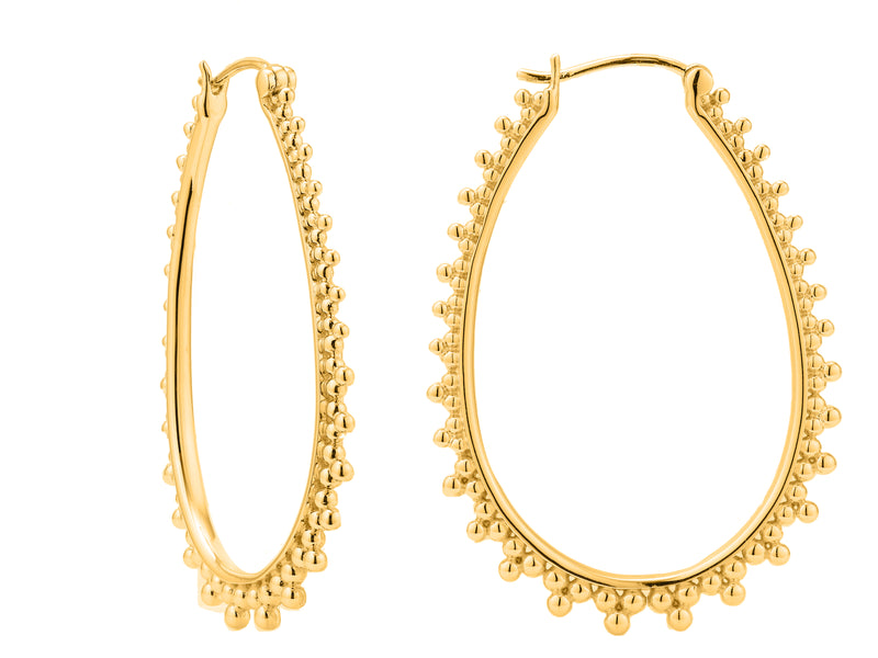 Contessa hoops, sterling silver, yellow gold plated