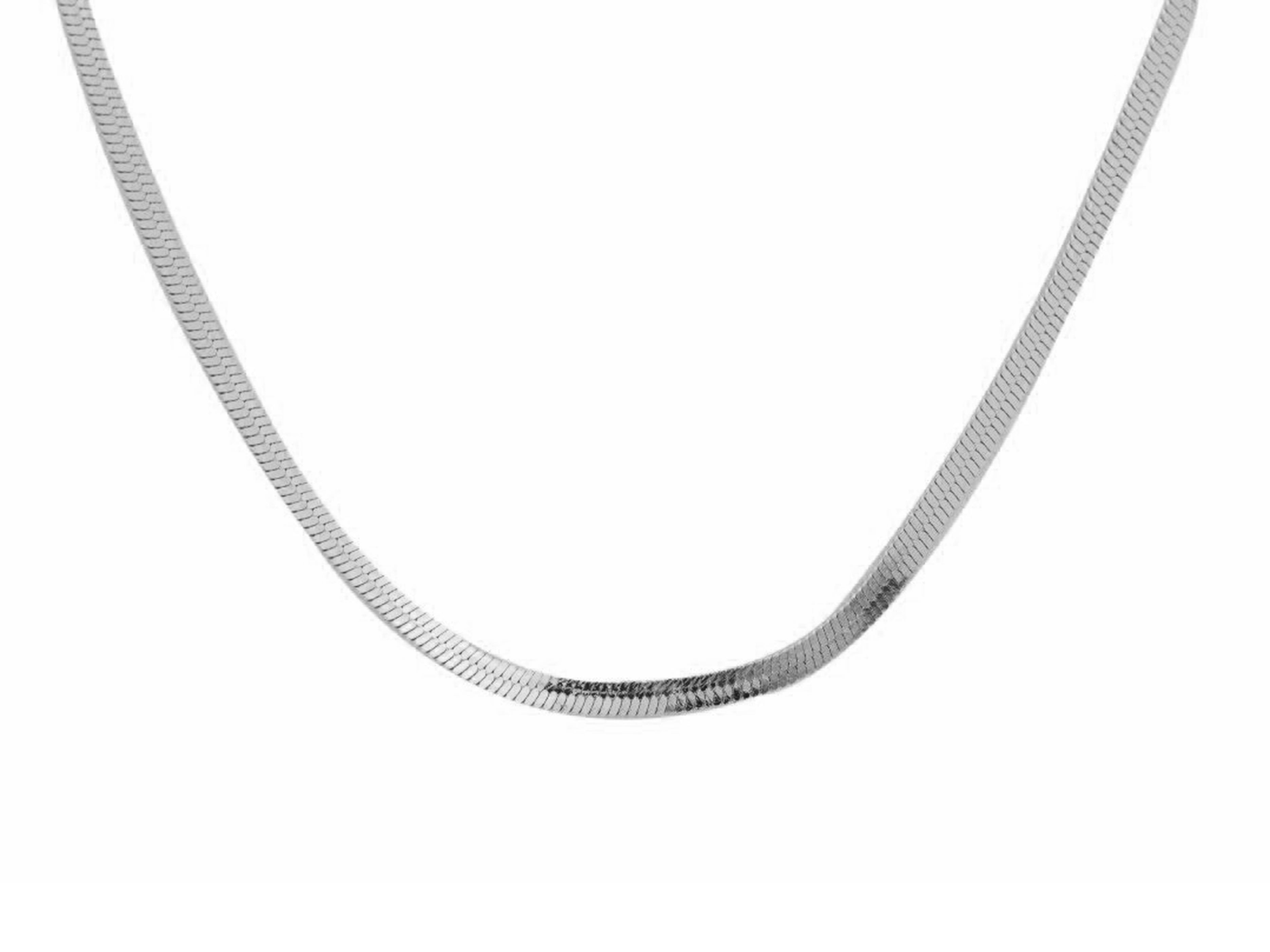 Herringbone choker, sterling silver, rhodium plated