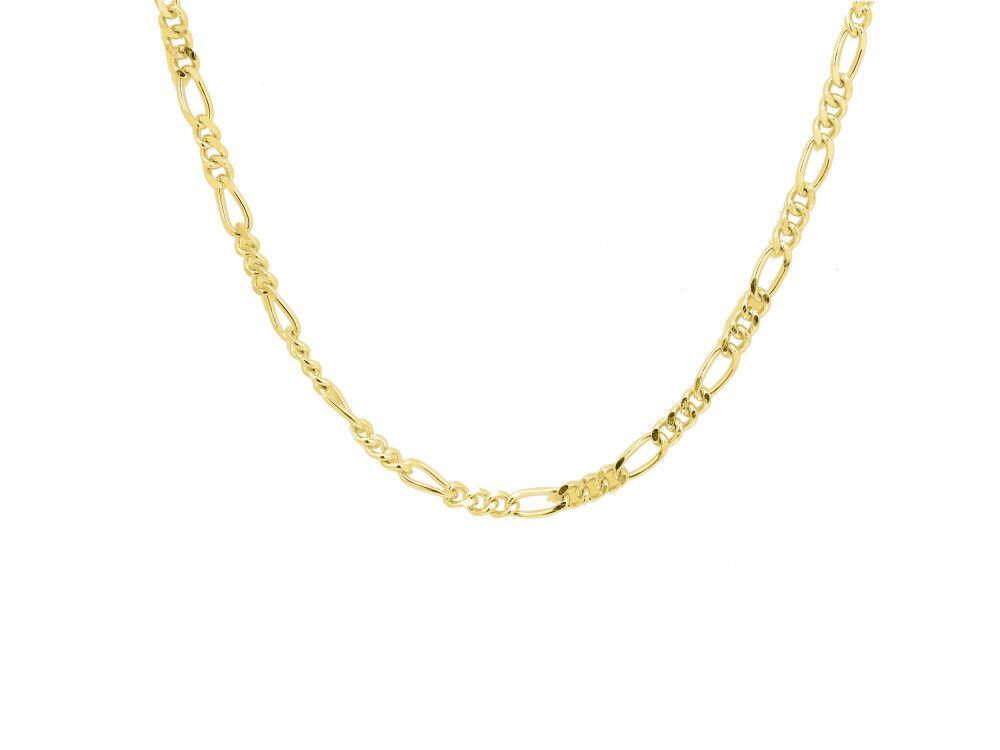 Figaro link choker necklace, sterling silver, yellow gold plated