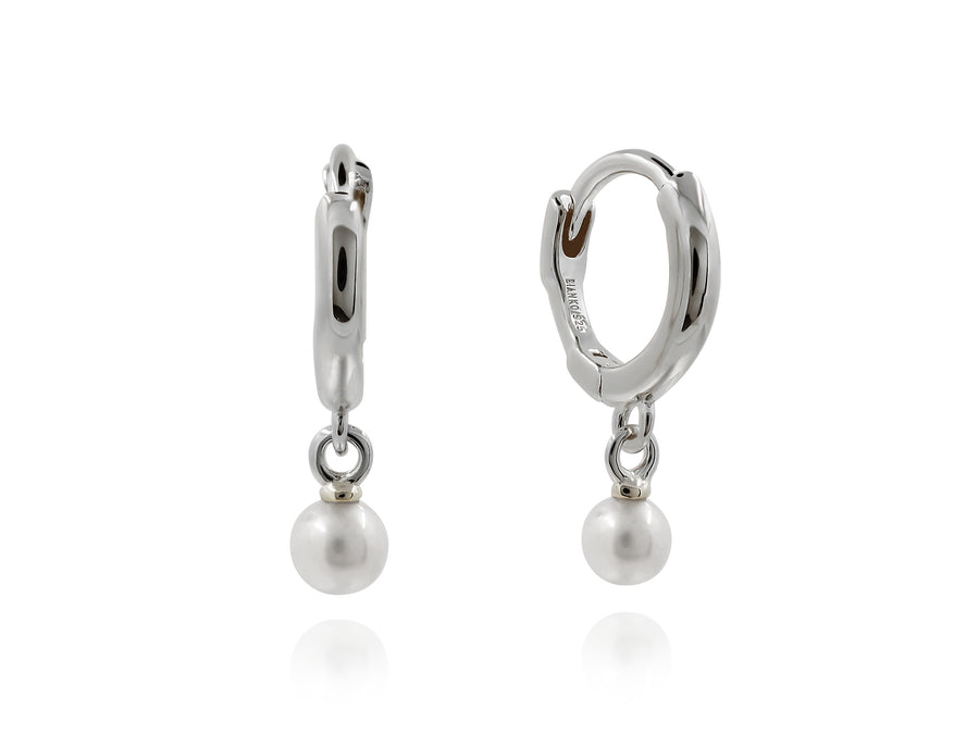 Pearl Drop Huggies - Silver (Rhodium Plated)