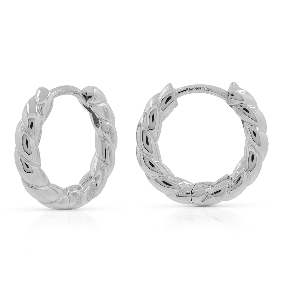 Twist Hoops - Silver (Rhodium Plated)