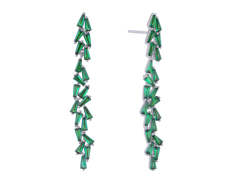 Product image of our Aurora earrings, crafted from Sterling silver, plated in rhodium and set with 21 trapeze cut green zircon gemstones.