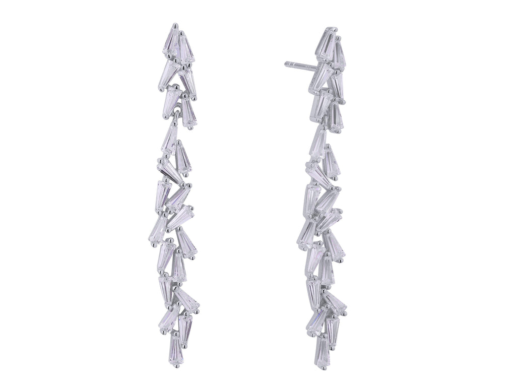 Product image of our Aurora earrings crafted from Sterling silver, plated in rhodium and set with 21 trapeze cut white zircon gemstones.