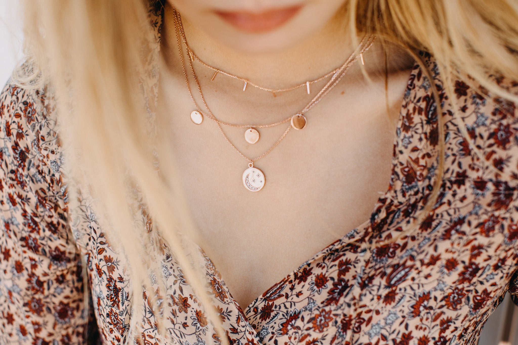 "Sterling silver ""you are my stars and moon"" necklace - Rose Gold"
