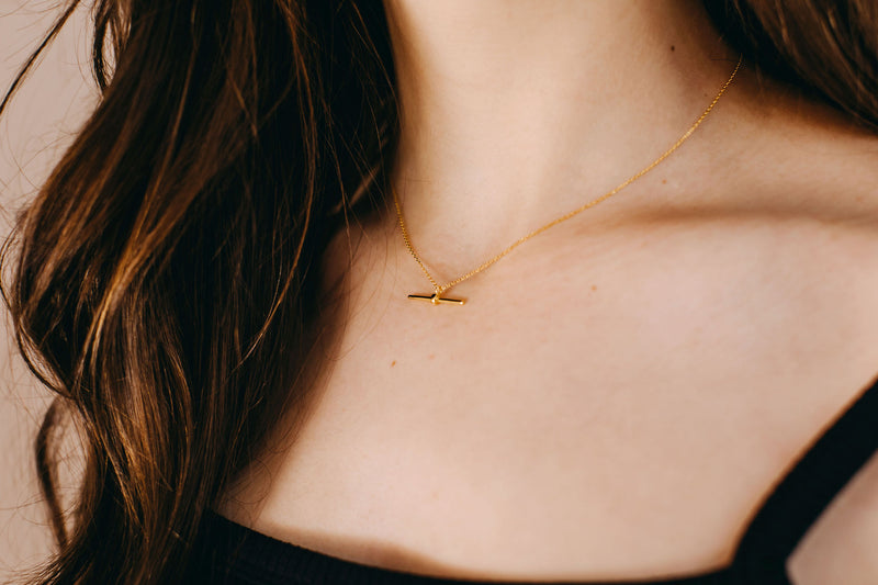 T-Bar Necklace - Yellow Gold