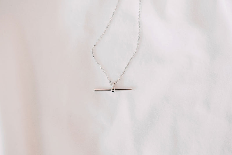 T-Bar Necklace - Silver (Rhodium Plated)