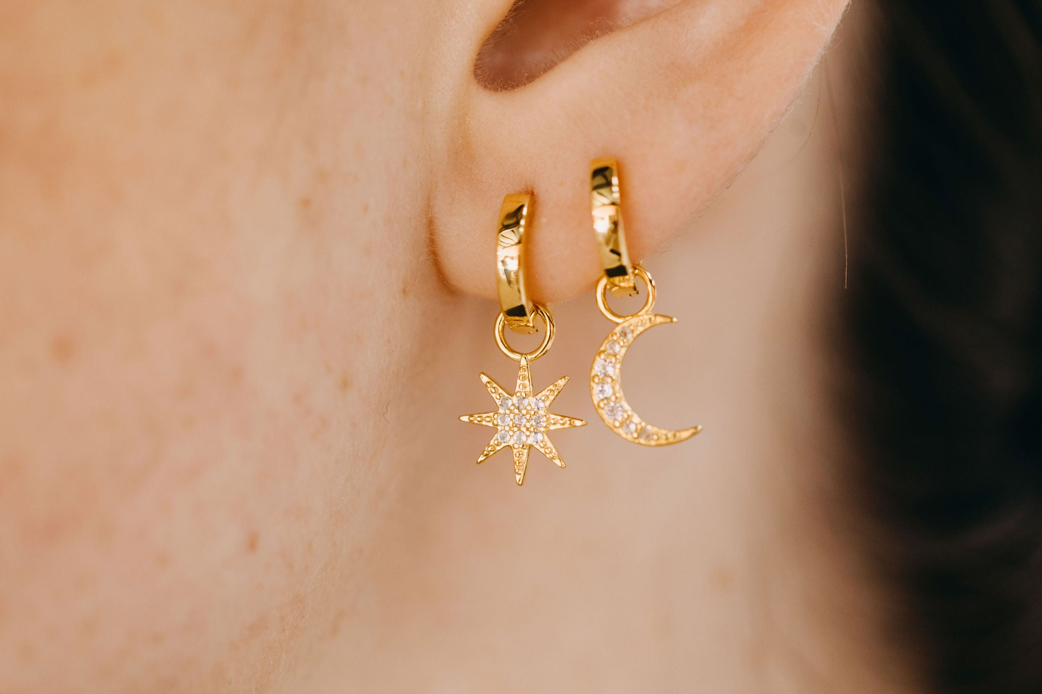 Pave Charm Earring Set - Yellow Gold