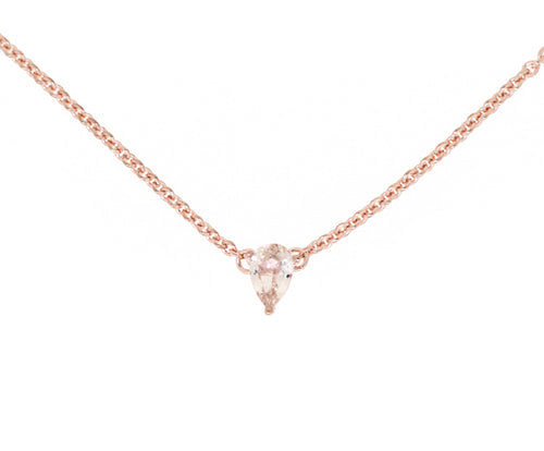 Sterling silver necklace with pear shape morganite pendant - Rose Gold