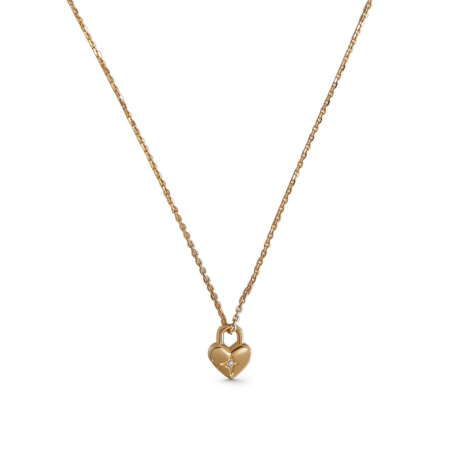Lovers Lock, Heart Necklace - Yellow Gold