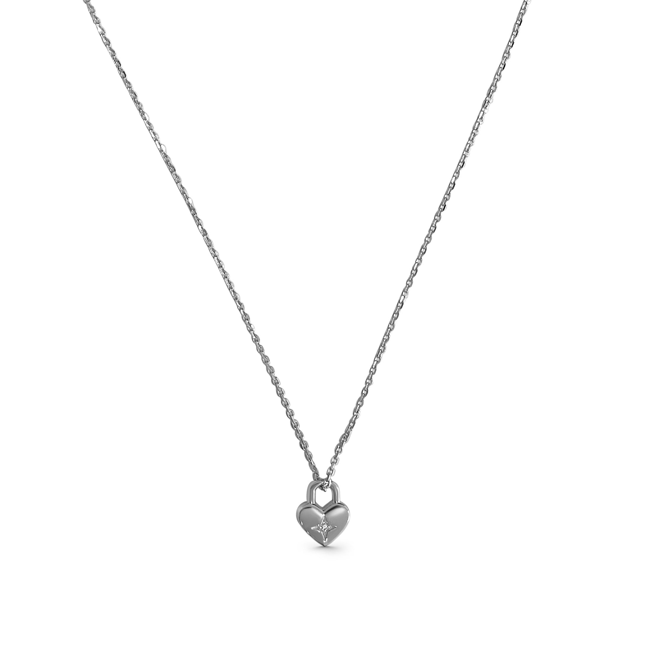 product image of silver necklace with small loveheart padlock pendant with gemstone in the middle on a white background
