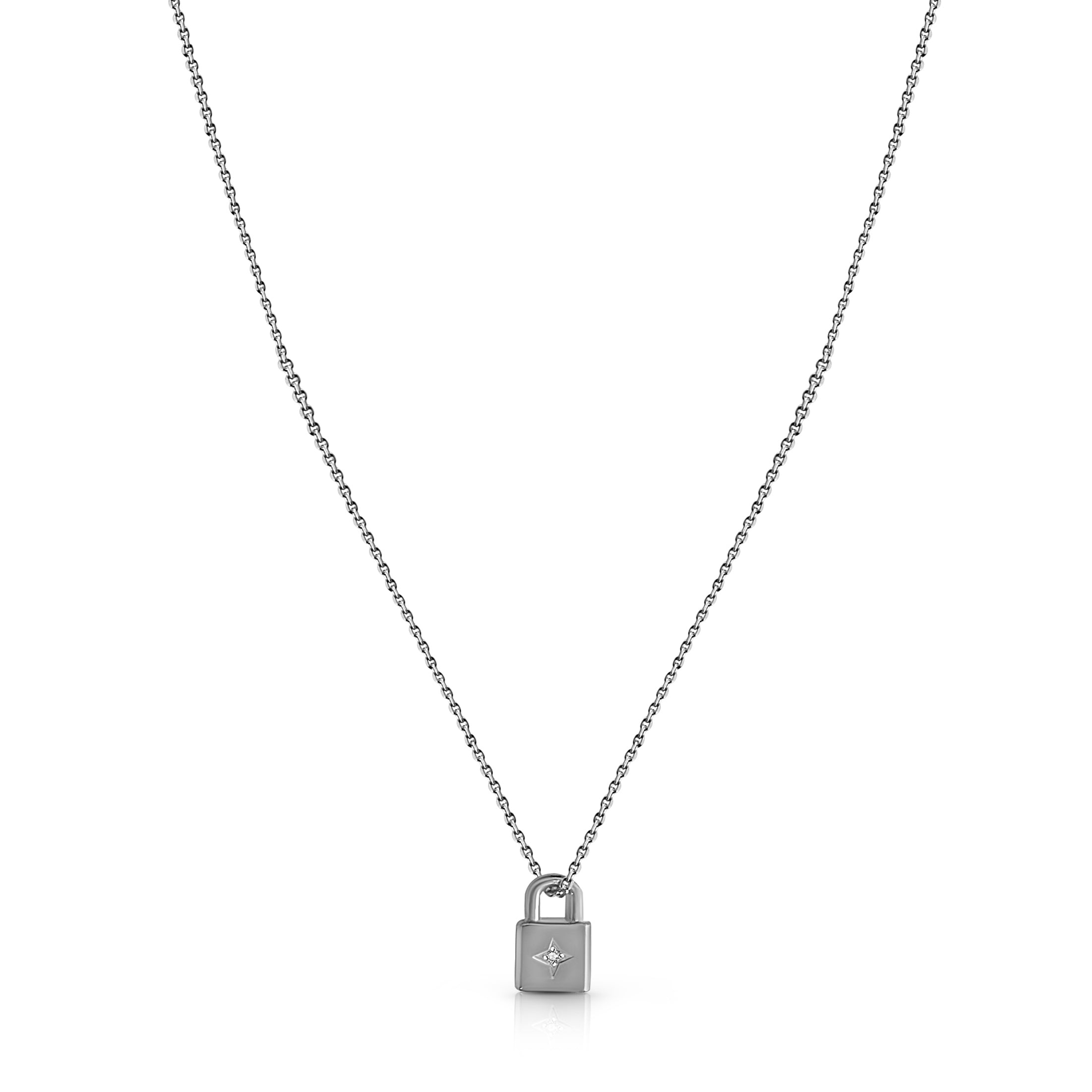 Lovers Lock, Padlock Necklace - Silver (Rhodium Plated)