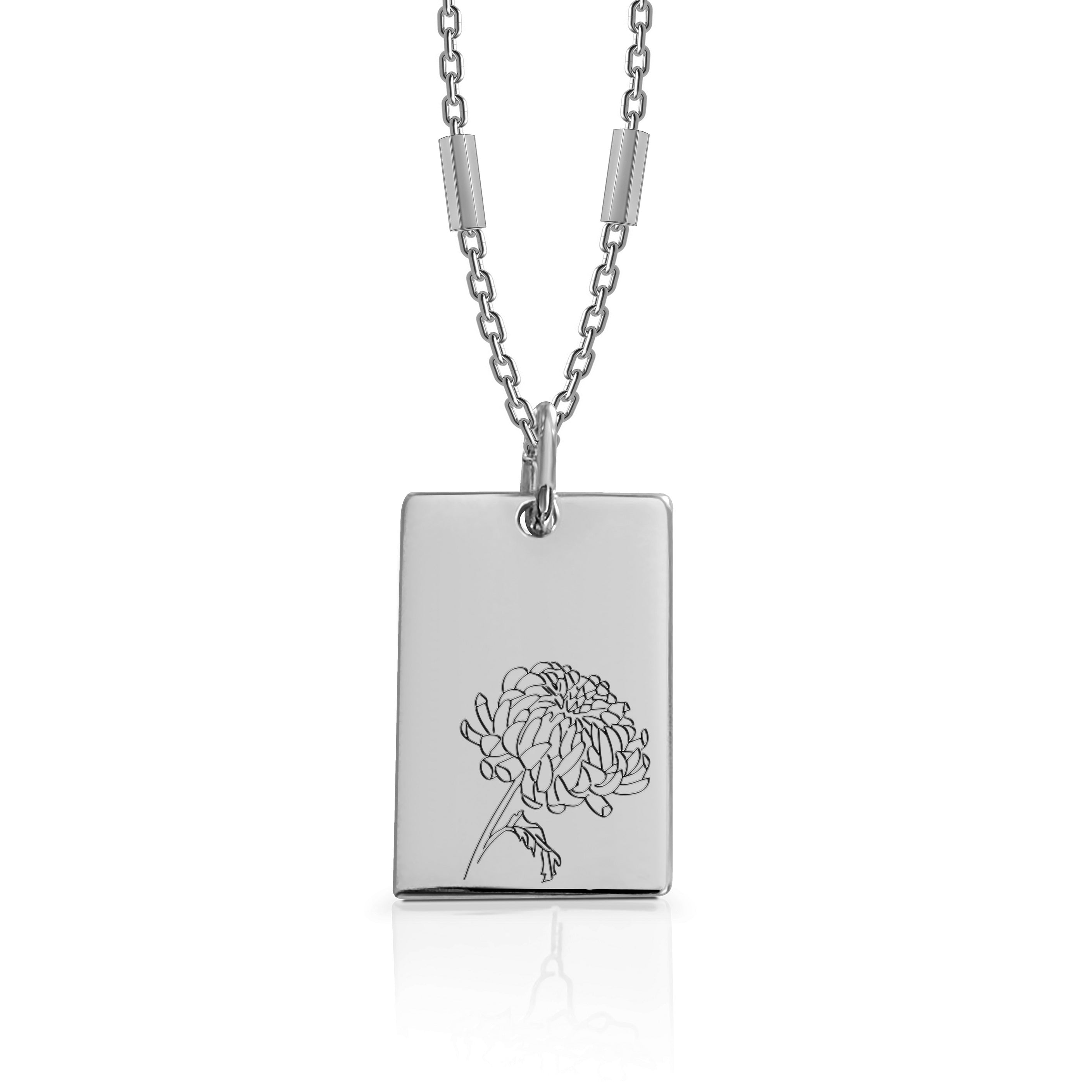 NOVEMBER / Chrysanthemums - Silver (Rhodium Plated)