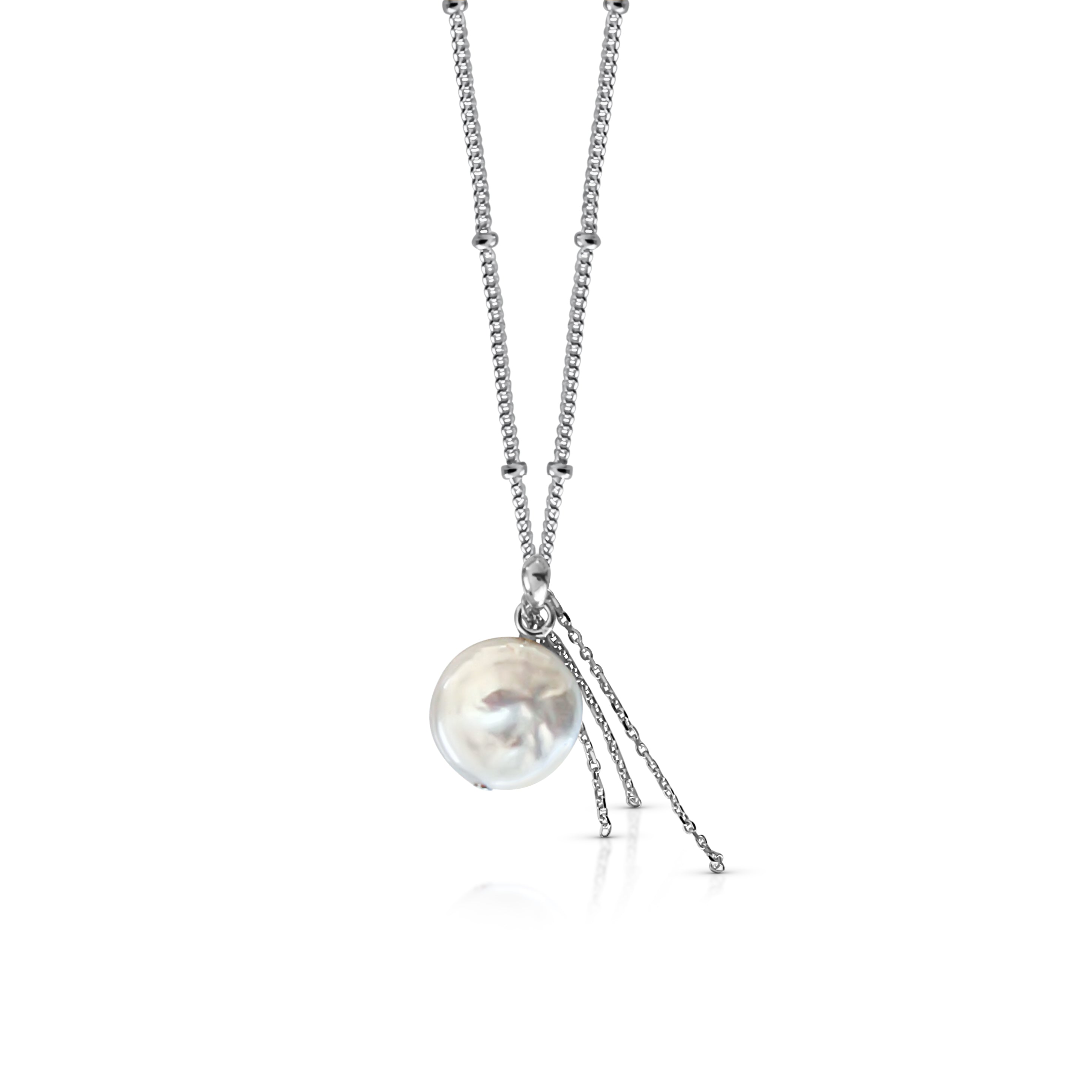 Product image of silver bobble chain necklace with round pearl pendant on white background