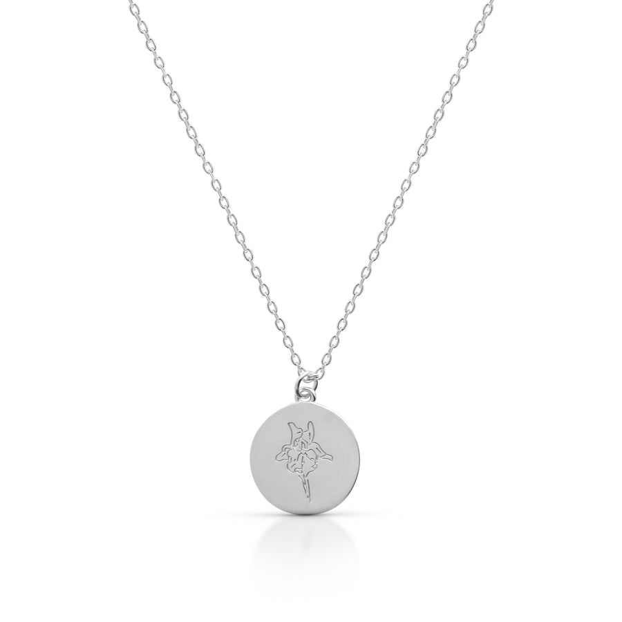 Petite FEBRUARY / Iris - Silver (Rhodium Plated)