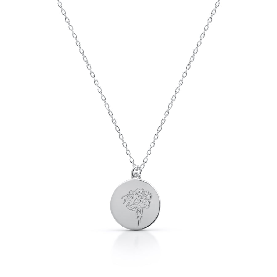 Petite OCTOBER / Marigold - Silver (Rhodium Plated)