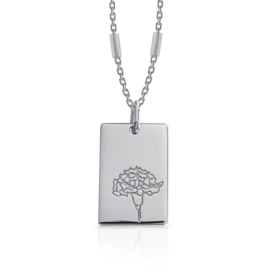 JANUARY / Carnation - Silver (Rhodium Plated)