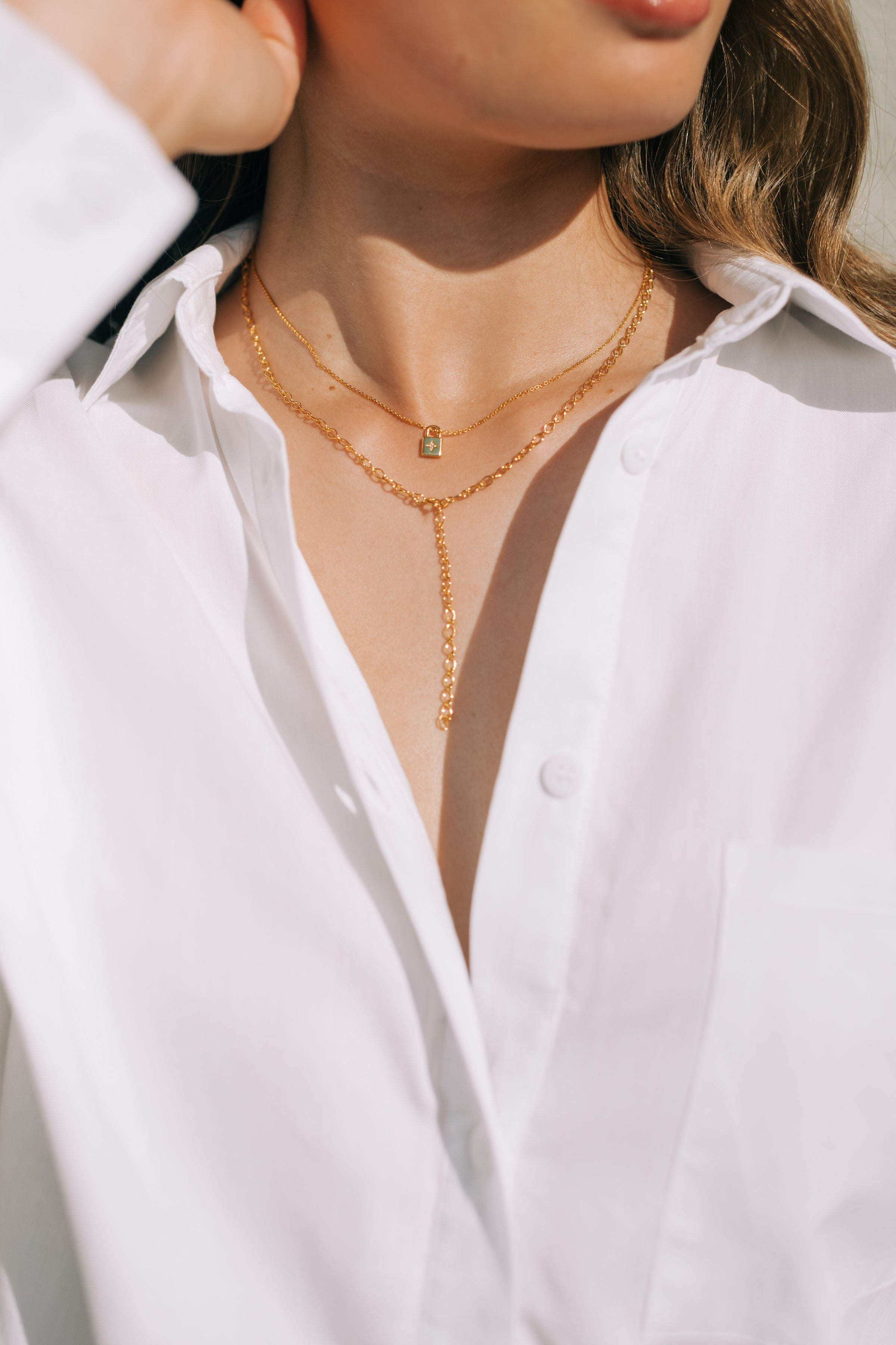 Y-Shape Adjustable Necklace - Yellow Gold