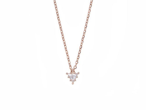 Sterling silver necklace with trilliant cut white sapphire pendant - Rose Gold