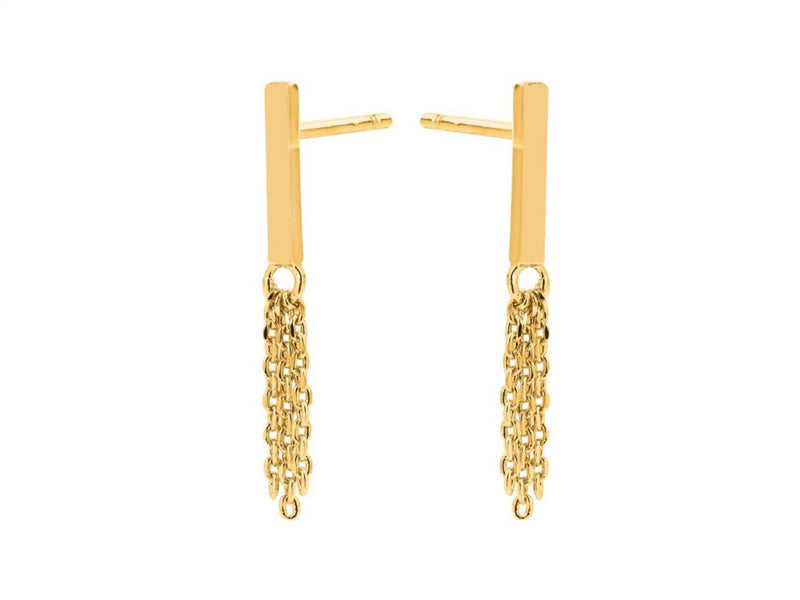 Tassel Bar Earrings - Yellow Gold