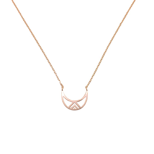 Sterling silver necklace with crescent moon pendant - Rose Gold
