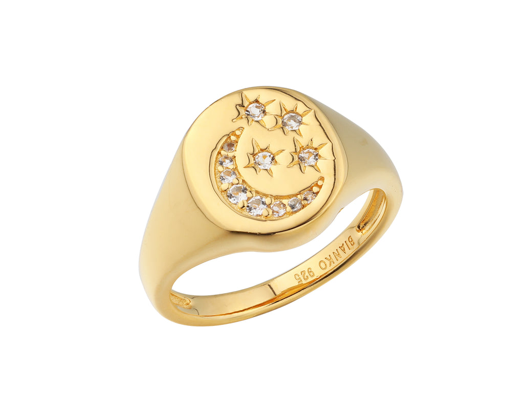 Selene stars and moon signet ring, sterling silver, yellow gold plated